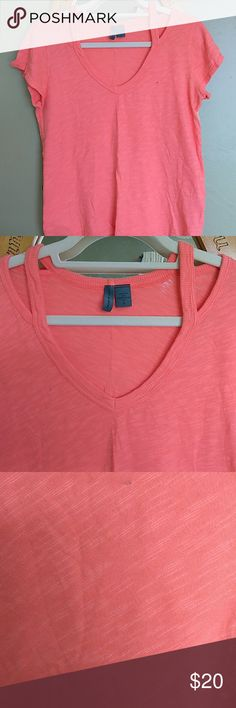 Left of center pink top Bright pink top with cut out neckline. Beautiful detail summer top. left of center Tops Tees - Short Sleeve