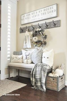 "Rustic Home Decor Ideas The rustic decor is so ""inside"" now. Whether you live in your country or home is in this city, you can still have a beautiful rustic decoration and you can d… Decor, Farmhouse Wall Decor, Farm House Living Room, Rustic House, Living Room Designs, Living Decor, Entryway Decor, Home Decor, Room Decor"