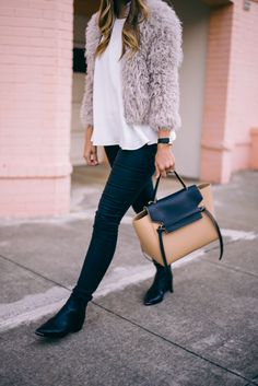 Gal Meets Glam Fluffy IRO Jacket, Cos Top, Acne Boots, Old Navy Jeans, and Celine Bag