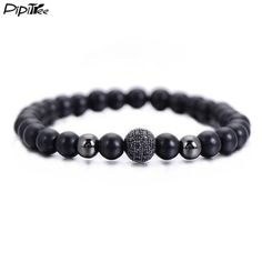 Pipitree Brand Fashion Black Cz Ball Men Bracelet Natural Stone Matte Beads Char #ebay #Fashion