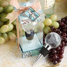 Glass Globe Design Wine Bottle Stopper Favors, World Wedding Favors, Travel Theme Wedding Wine Wedding Favors, Destination Wedding Favors, Party Favors, Wine Favors, Wedding Reception, Wedding Favors Unlimited, Wine Bottle Design, Wine Bottle Stoppers, Bottle Openers