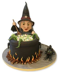 Witch cake Fondant Cakes, Cauldron Cake, Witches Cauldron, Witches Brew, Hubble Bubble, Nice Cake, Crazy Cakes, Fancy Cakes, Witch Craft