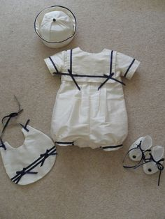Sailor Romper Suit Christening Gown with hat, bib and booties for Christening Wedding Special Occasion. £99.99, via Etsy.