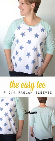 8747d0dbfb7cf the easy tee  the hand stamped 3 4 raglan sleeve version. Shirt Patterns  For WomenClothing ...