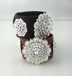 Iridescent Swarovski Silver Concho Leather Cuffs - This STUNNING bracelet will be the envy of all.  Soft leather cuff available in black and dark brown. - $80