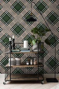 Mind The Gap Checkered Patchwork British Green Wallpaper Green Wallpaper, Cool Wallpaper, Pattern Wallpaper, Eclectic Design, Interior Design, Mind The Gap, Design Repeats, Natural Texture, Box Design