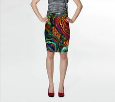 Wearable Art, custom made, exclusive print design, artful stretch fitted skirt, shaping flattering abstract liquid colorful enamel design by artdreamstudio. Explore more products on http://artdreamstudio.etsy.com