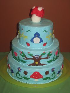 Tapestry style cake for daughter's fairy garden themed birthday party.  Frosting with hand-cut fondant accents.