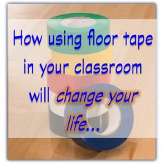 Colored Tape Ideas for the Classroom~  This post has a bunch of ways to use floor tape in your classroom.  See suggestions from Your Teacher's Aide including color coding items, marking the floor so students can quickly get desks back in place, and lots of other uses.