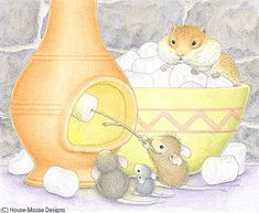 """Monica, Mudpie, Muzzy & friend"" , from House-Mouse Designs®, featured on the The Daily Squeek® for January 24th, 2014. Click on the image to see it on a bunch of really ""Mice"" products."