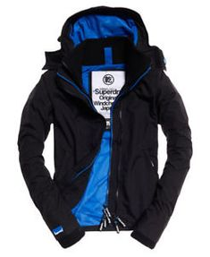 bb6c61170bb64 Details about Womens Superdry Technical Hooded Pop Zip SD-Windcheater Black