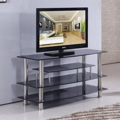 Home Source 41 in. Glass TV Stand - TV4281 CLEAR
