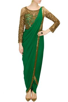 Emerald green antique gold and bead embroidered pant sari available only at Pernia's Pop Up Shop.