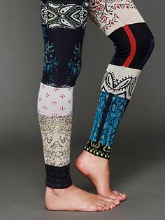 Free People Patchwork Sweater Legging at Free People Clothing Boutique Diy Clothing, Sewing Clothes, Psytrance Clothing, Estilo Hippy, Old Sweater, Upcycled Sweater, Sweaters And Leggings, Black Leggings, Altered Couture