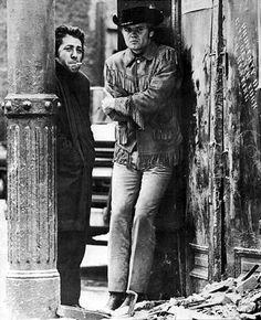 "Jon Voight: Jonathan Vincent Voight (born December 29, 1938) asJoe Buck and Dustin Hoffman (August 8, 1937 - ) as Ratso in ""Midnight Cowboy"", 1969 #actor #still"