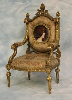 "Antique 7"" c.1860 Bronze Chair with gold gilt & Miniature Portrait Dollhouse"
