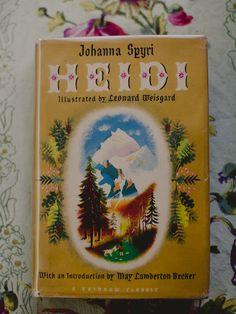 "Vintage, classic book ""Heidi"" written by Johanna Spyri and illustrated by Leonard Weisgard."