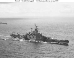 USS Indiana (BB-58) underway at sea in 1944, probably in late January while the ship was en route to the Marshall Islands to support the Kwajalein invasion.