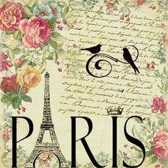 Paris - Eiffel Tower, handwriting and pink roses