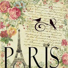 Paris - Eiffel Tower, handwriting and pink roses