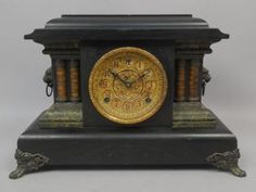 Handsome-Antique-19c-Sessions-Clock-Co-8-Day-Column-Lion-Head-Mantel-Clock