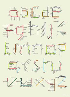 Mind the Map: Artwork; A-Z Tube map poster, by Tim Fishlock