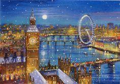 Christmas Scenes, Christmas Art, Jim Mitchell, City Aesthetic, Winter Art, London Art, Galaxy Wallpaper, Best Cities, Westminster