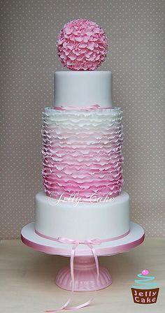 Dusky Pink Ombre Ruffles Wedding Cake