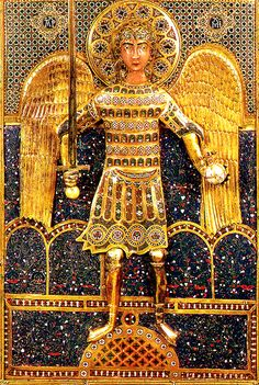 Icon with full-length portrait of St. Michael Detail of the central panel : Late 11th or early 12th century, Constantinople. Gold, silver gilt, cloisonne enamel on gold.