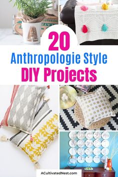 20 Charming Anthropologie Style DIY Projects- You can get the Anthropologie look for less with just some basic DIY skills! You have to check out these charming Anthropologie style DIY projects if you want to enjoy great looking décor without breaking your budget! | #crafts #diyProjects #AnthropologieKnockoffs #diyDecor #ACultivatedNest Diy Cupcake Stand, Pom Pom Wreath, Diy Tassel, Plate Art, Easy Diy, Diy Projects, Diy Crafts, Style, Swag