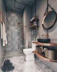 Modern Farmhouse Bathroom Decor Ideas - Page 30 of 70 - ProHouse. Bathroom Inspo, Bathroom Inspiration, Bathroom Ideas, Basement Bathroom, Bathroom Remodeling, Master Bathroom, Concrete Bathroom, Remodeling Ideas, Funky Bathroom