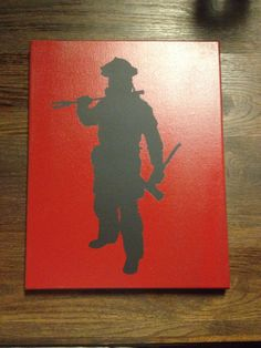 Firefighter silhouette painting by CavellaDesign on Etsy, $19.99