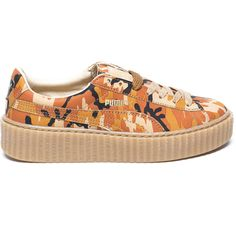 Puma Puma by Rihanna Suede Camo Creepers ($140) ❤ liked on Polyvore featuring shoes, camo footwear, orange shoes, camouflage footwear, puma footwear and camo shoes