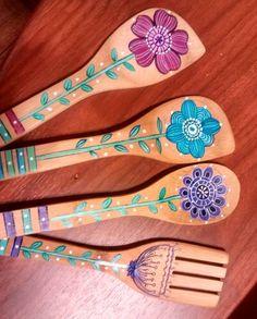 Cucharas de madera decoradas – Pinturas Eterna
