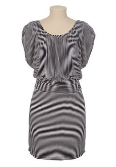 Cinched Shoulder Striped Dress. Red shoes would make this outfit POP!