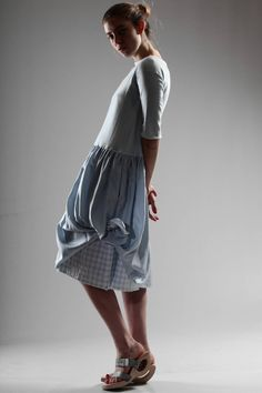 Daniela Gregis Dress In Knitted Cotton, Embossed Vichy Cotton And Striped Silk