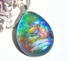 Multicolor Dichroic Glass Pendant - Fused Glass Jewelry - Rainbow Glass Necklace by TremoughGlass on Etsy