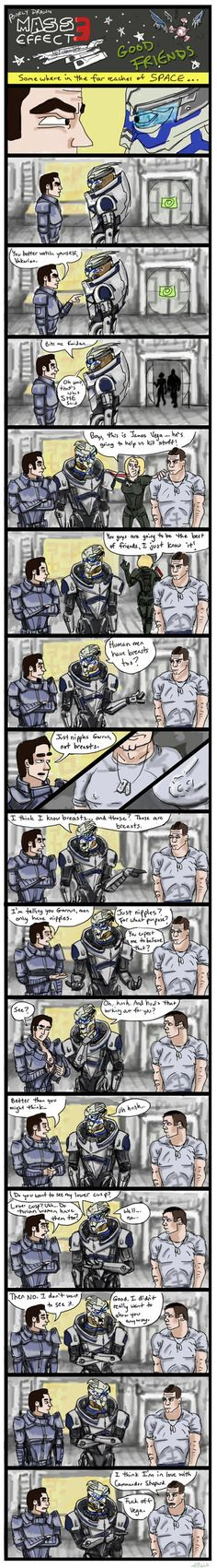 Yes, it has been a while since the last comic. And no, I have no idea what a turian 'cusp' is, it just sounded dirty, lol. Also I should say, I don't hate Vega, I really don't know anything about h...