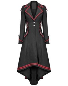 Punk Rave Womens Steampunk Military Coat Jacket Long Black Red Gothic Uniform in Clothes, Shoes & Accessories, Women's Clothing, Coats & Jackets Gothic Mantel, Coats For Women, Jackets For Women, Gothic Coat, Victorian Coat, Steampunk Jacket, Langer Mantel, Gothic Outfits, Mode Outfits