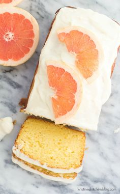 Grapefruit Ricotta Cake with Cream Cheese Frosting - SO moist, sweet, and tart! Delicious Cake for you Sweet Recipes, Cake Recipes, Dessert Recipes, Dessert Ideas, Cupcakes, Cupcake Cakes, Poke Cakes, Layer Cakes, Grapefruit Recipes