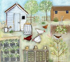 Louise Rawlings illustration... lovely illustration for 'All the little chickens in the garden'