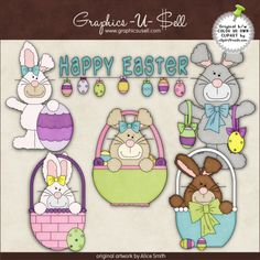 Happy Easter Bunnies 1 - Whimsical Clip Art by Alice Smith