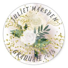 White Rose and Gold Confetti Bling Classic Round Sticker - white gifts elegant diy gift ideas Gold Confetti, Round Stickers, White Roses, Custom Stickers, Activities For Kids, Vibrant, Diy Projects, Bling, Shapes
