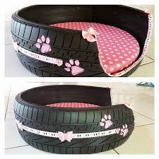 Resultado de imagem para caminha de cachorro feito com pneu