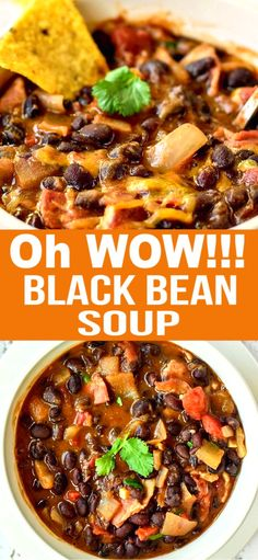 Lower Excess Fat Rooster Recipes That Basically Prime Make This Delicious Black Bean Soup With Dried Cooked Black Beans Or Canned Black Beans. This Is A Hearty Delicious Soup. Keto, Dry Beans Recipe, Mexican Food Recipes, Dinner Recipes, Cooking Recipes, Healthy Recipes, Healthy Black Bean Recipes, Crockpot Black Bean Recipe, Recipe For Black Bean Soup