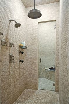 Shower-steam room combo for my Dream Home! Guest Bathrooms, Laundry In Bathroom, Boutique Bathroom, Sauna Steam Room, Master Bath Shower, Home Spa, Wet Rooms, Bathroom Inspiration, My Dream Home