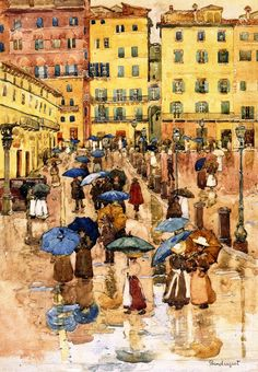 Maurice Prendergast (American 1858–1924) [Post-Impressionism, The Eight] Rainy Day, Sienna.