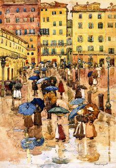 Maurice Prendergast (American 1858–1924) [Post-Impressionism, The Eight] Rainy Day, Sienna.