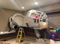 Whoa! Epic Star Wars bed in the making! #starwars