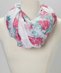 Love this White & Pink Floral Infinity Scarf by Polka Dotsy on #zulily! #zulilyfinds